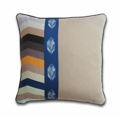 Chevron and Leaf Organic Cotton Pillow Multi/Blue