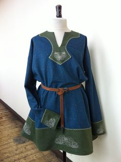 FOR SALE - Darkage, Viking, Celtic, Norse, Pagan, Embroidered, Wool, Woolen Tunic Costume, Game of Thrones. $235.00, via Etsy.