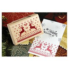 Christmas Rubber Stamp Heart Rudolph by verryberrysticker on Etsy