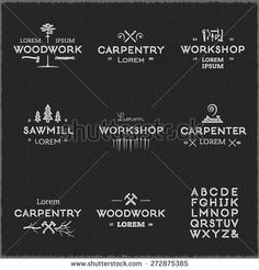 Trendy vintage woodwork logo set. Letterpress look. High quality vector design elements.