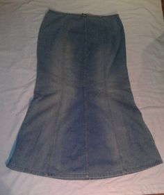 Denim Skirt Modest Womens Sz 14 Jeanology Zip Long Full Blue Jean Panel Flare