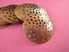25 mm #Perforated #Disc Copper Color by Turkeysupply http://etsy.me/1CxWLEl #jewelry #ring #mount #brass #jewel #gem #bezel #setting