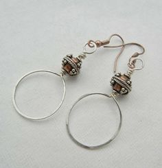 Backstory Beads: Day 30. Hand-formed sterling hoops; copper and sterling accent beads.
