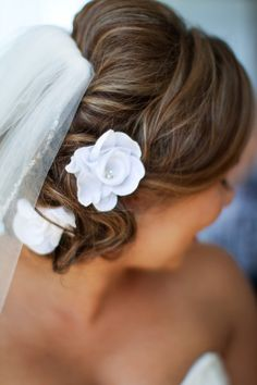Pretty flower-adorned updo. Photo by Brent Pilgrim Photography.