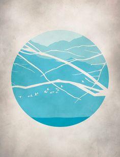 Mitte der modernen Kunst Teal Türkis Kunstdruck Berge von evesand
