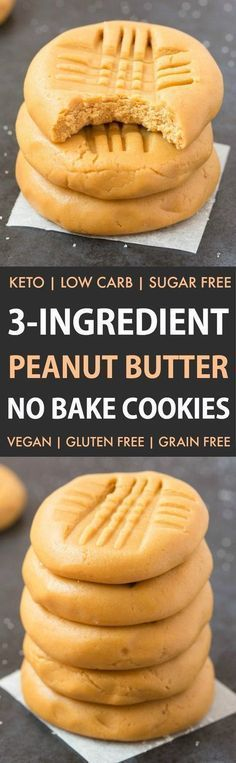 3-Ingredient No Bake Peanut Butter Cookies (Keto, Paleo, Vegan, Sugar Free)- Make these easy no bake cookies in under 5 minutes, to satisfy your sweet tooth the healthy way! Low carb, thick, fudgy and loaded with peanut butter! #lowcarbrecipe #nobakecooki paleo dessert peanut butter
