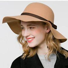09105321e Wool floppy hat with bow for women vintage winter wide brim felt hats