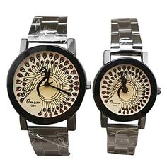 Estilo Fashion Patrón Peafowl de Pareja Dial Stainless Steel Band cuarzo analógico reloj de pulsera – USD $ 10.99