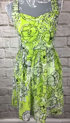 25ec5b5cc8d Ladies Jane Norman Dress - size 8 - Green with floral design crossover back   fashion