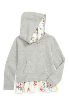 Main Image - Tucker + Tate Floral Peplum Hoodie (Toddler Girls, Little Girls & Big Girls)