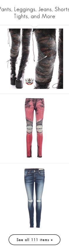 """""""Pants, Leggings, Jeans, Shorts, Tights, and More"""" by coldbloodedsouls ❤ liked on Polyvore featuring pants, leggings, bottoms, jeans, distressed, grey, women's clothing, balmain, red and balmain jeans"""