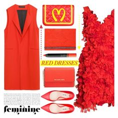 """""""No 310:Hot Red Dress"""" by lovepastel ❤ liked on Polyvore featuring Parlor, Miu Miu, Moschino, Christian Lacroix, NARS Cosmetics, MICHAEL Michael Kors and reddress"""