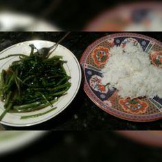 Stir fry water grass veggie meal
