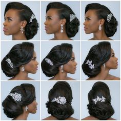 A compliation of classy bridal hair accesories for modern brides which includes bridal hair pins, hair vines, hair combs,hair pearls and hair tiaras Bridal Hair Updo, Hair Comb Wedding, Wedding Hair And Makeup, Bridal Headpieces, Wedding Crowns, Natural Wedding Hairstyles, Bride Hairstyles, Black Hairstyles, Natural Hair Wedding