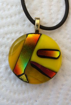 Items similar to fused glass yellow & gold pendant on Etsy Fused Glass Jewelry, Resin Jewelry, Wire Wrapped Jewelry, Glass Pendants, Polymer Clay Pendant, Paper Jewelry, Dichroic Glass, Jewelry Design, Unique Jewelry