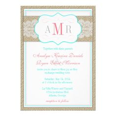 Lace and Burlap Teal and Coral Vintage Wedding Custom Announcements