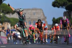 #Giro101 ROME, ITALY - MAY 27: Arrival / Sam Bennett of Ireland and Team Bora-Hansgrohe / Celebration / Elia Viviani of Italy and Team Quick-Step Floors Purple Points Jersey / Jean-Pierre Drucker of Luxembourg and BMC Racing Team / during the 101st Tour of Italy 2018, Stage 21 a 115km stage from Rome to Rome / Giro d'Italia / on May 27, 2018 in Rome, Italy. (Photo by Justin Setterfield/Getty Images)