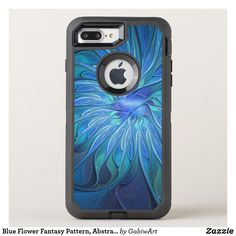 Blue Flower Fantasy Pattern, Abstract Fractal Art OtterBox Defender iPhone 8 Plus/7 Plus Case