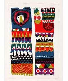 Today's posts are all about paying tribute to the amazing work of Sanna Annukka for Marimekko . We start with one of Sanna's latest prints. Pattern Illustration, Graphic Illustration, Atelier D Art, Scandinavian Folk Art, Textiles, Galo, Marimekko, Abstract Pattern, Geometric Shapes