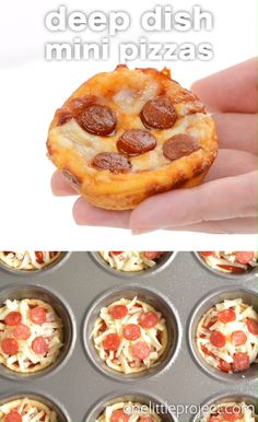 These deep dish mini pizzas are SO EASY to make and they taste amazing! They make a great lunch, dinner or you could even serve them as an appetizer! Make them with your favourite toppings to satisfy even the pickiest of eaters! Mini Pizzas, Pizza Appetizers, Appetizer Recipes, Easy Dinner Recipes, Lunch Recipes, Lunch Meals, Whole30 Recipes, Lunch Snacks, Healthy Appetizers