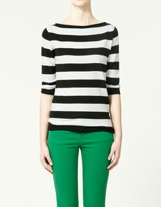 black & white striped boatneck top :)