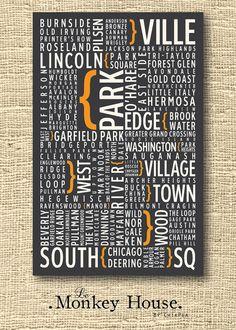 Chicago Neighborhoods by LeMonkeyHouse on Etsy, $25.00