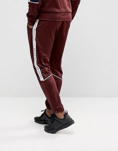 Illusive London Skinny Track Joggers In Burgundy With Taping - Red Jogger Pants Style, Sport Pants, Latest Fashion Clothes, Fashion Pants, Fashion Online, Fashion Tips, Mens Fashion, Mens Sweatshirts, Mens Tees