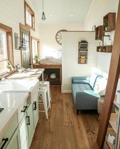 """Décoration Maison En Photos 2018 Image Description Tiny Heirloom: """"Creating a small space that doesn't feel small is always a challenge. Here, we used an open style floor plan with strategically placed…"""" Tiny House Plans, Tiny House On Wheels, Tiny Home Floor Plans, Tiny House Living, Home And Living, Interior Exterior, Interior Design, Little Houses, Tiny Houses"""