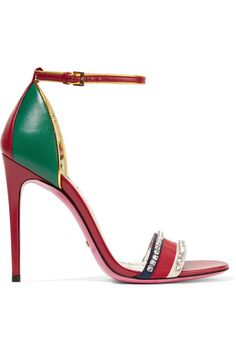 Heel measures approximately 110mm/ 4.5 inches Red, green and gold leather, navy, white and red grosgrain Buckle-fastening ankle strap Made in Italy