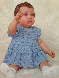 Spring Blue Sky Baby Girl Dress Vintage Crochet Pattern