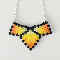 Orange Perler Bead Statement Necklace by AllieLouiseDesign