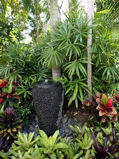 courtyard tropical garden – Google Search Water Features In The Garden, Tropical Gardens, Tropical Garden Design, Tropical Landscaping, Tropical Plants, Garden Landscape Design, Garden Landscaping, Florida Landscaping, Water Garden