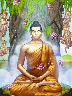 Gautama Buddha, Buddha Buddhism, Buddha Meditation, Buddhist Art, Buddha Artwork, Buddha Painting, Wall Stickers Vines, Buddha Life, Buddha Temple