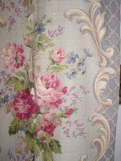Vintage Pink Roses Barkcloth Fabric Lilac Perwinkle by fadedfrocks