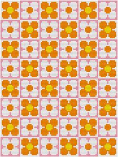 Cross Stitch Pattern 'Retro Flower Wallpaper' PDF by HollieHarris