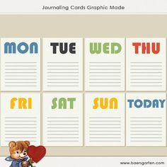 40 PRINTABLE Journaling Cards Days of the week  by baersgarten, $5.00