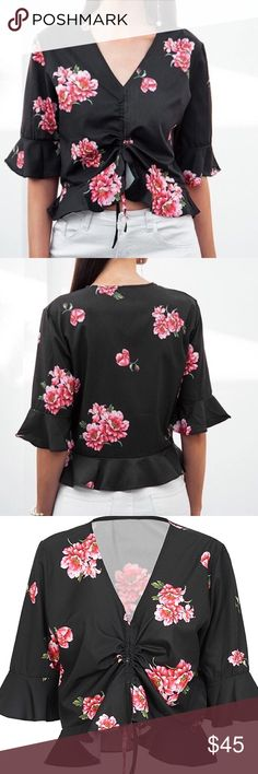 'Melissa' Black Floral Print Crop Top NWT 'Melissa' Black Floral Pront Crop Top  Get ready for the prettiest season in our prettiest Top! Features: black color, pink and whote floral pattern, vneck, half falred sleeves, ruffles on hemline and sleeves, cropped legnth, lace ip front detailing CROP TOP Size: Small Medium Large  Stile Loft Boutique @stileloft  SL0312 Stile Loft Tops Crop Tops