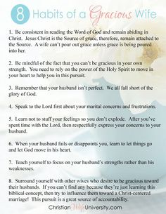 Love Quotes : QUOTATION – Image : Quotes Of the day – Description 8 Habits of a Gracious Wife- FREE printable. Christian Wife University Sharing is Caring – Don't forget to share this quote ! Christ Centered Marriage, Biblical Marriage, Marriage Prayer, Happy Marriage, Love And Marriage, Marriage Verses, Biblical Womanhood, Marriage Relationship, Marriage Advice
