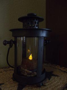 Primitive Black Metal Lantern with Grubby Tea Light ~  Country Decor #NaivePrimitive