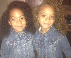 Gorgeous twin sisters, beautifully blended with African American and Dominican Curly Afro Hair, Curly Hair Styles, Natural Hair Styles, Afro Curls, Beautiful Black Babies, Beautiful Children, Future Daughter, Future Baby, Cute Twins