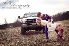 Country engagement pictures with horses and old barns. Check out the truck in the background! #country #engaged