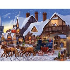 Bits and Pieces - 300 Piece Jigsaw Puzzle for Adults - Christmas Eve Express - 300 pc Winter Holiday Horse Jigsaw by Artist Finlay Christmas Town, Old Fashioned Christmas, Christmas Scenes, The Night Before Christmas, Victorian Christmas, Vintage Christmas Cards, Christmas Art, Christmas Ideas, Illustration Noel