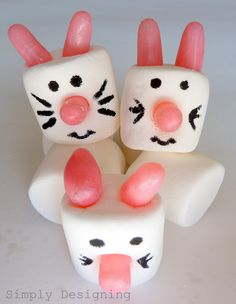 Bunny Marshmallows ~ Grab some large marshmallows, candies for the ears and nose (here they used Tropical Fruit Mike and Ike's) and a black edible marker