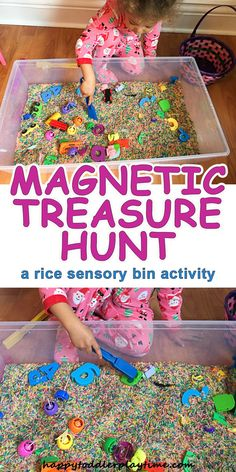 Magnetic Treasure Hunt – HAPPY TODDLER PLAYTIME -A fun and simple to set up rice sensory bin, where your toddler or preschooler can explore the magic of magnets.
