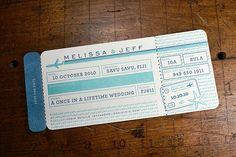 boarding pass/ticket save the date. destination wedding. - Letterpress Wedding Savedate: Pomeroy by smokeproof, via Flickr