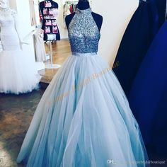 2016 Light Ice Blue Quinceanera Dresses With Beaded High Neck And Major Beaded Bodice Real Photo Tulle Ball Gown Prom Gowns Special Occasion Nice Dresses One Shoulder Dresses From Uniquebridalboutique, $160.61| Dhgate.Com