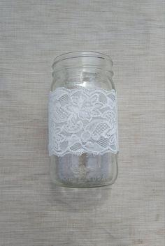 Vase 3 set / Mason Jar w/ White Lace / Wedding Decor / Home Decor / Table Decor/ Shabby Chic / Vintage / Home Decor / Romantic / SET OF 3