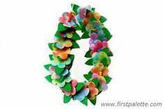 Hula Lei from First Palette.  Another paper lei craft to inspire our lei making at the Family Fun Luau at the Conservatory this Sunday, February 24th!