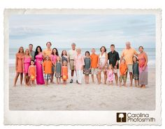 Love the colors, oranges, pinks, grays & whites. great layout for all the family to be seen. Embrace Color for the Best Beach Photography - Carolina Photosmith Extended Family Photos, Large Family Photos, Family Beach Pictures, Beach Photos, Family Pictures, Large Family Photography, Beach Photography, Portrait Photography, Group Photography