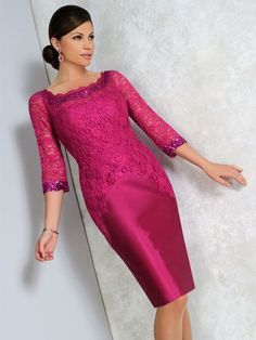 This striking Irresistible dress has a gorgeous lace fabric design across the bodice and sleeves, with an embellishment at the top of the dress and on the bottom of the sleeves. In a raspberry pink shade of colour, this dress is vibrant and feminine. Product code IR8605. View more Mother of the Bride / Groom dresses from our Irresistible collection at: http://www.baroqueboutique.co.uk/mother-of-the-bride-south-wales/ Photographs courtesy of: http://www.irresistibleuk.com/